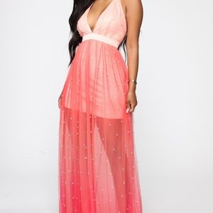 Ombre Maxi Dress, Coral with Pearl accents
